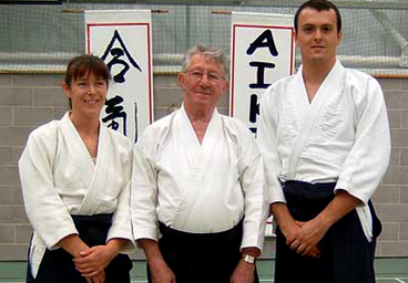 left to right: Sue Taylor, sensei Foster and Thomas Nogues